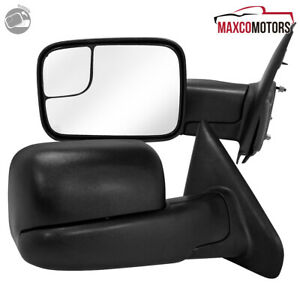 For 2002 2008 Dodge Ram 1500 03 09 Ram 2500 3500 Manual Towing Mirrors Pair Side
