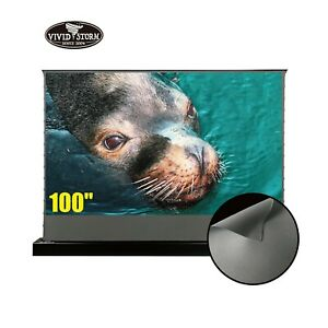 Vividstorm 100inch S Electric Tab tension Floor Obsidian Long Throw Alr Screen