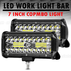 2x 7 Inch 240w Cree Led Work Light Bar Flood Offroad Combo Truck Atv Spot Lamp