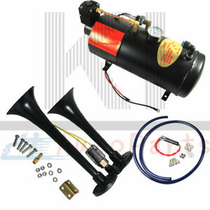 Black 2 Trumpet Train Horn Kit Loud With 3 Liter Air Compressor Complete System