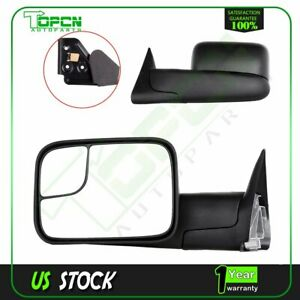 Pair Set Side View Manual Extending Towing Mirrors For 94 02 Dodge Ram Pickup