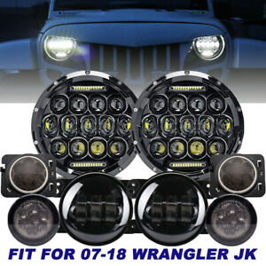 7 Led Headlights 4 Fog Light Turn Signal fender Light For Wrangler Jk 07 17