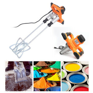 1600w Double Paddle Electric Mortar Mixer Paint Cement Grout High Low Gear Speed