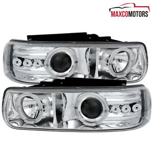 For 1999 2002 Chevy Silverado 00 06 Tahoe Led Dual Halo Projector Headlights