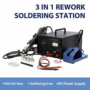 3 In 1 853d Smd Dc Power Supply Hot Air Iron Gun Rework Soldering Station