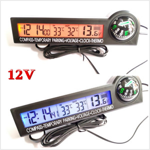 12v Mulitifunction Digital Clock Compass thermometer Voltage Meter For Car Boat