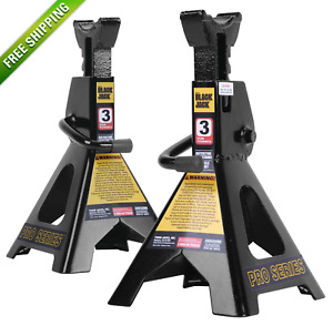 Pair Of Black Torin Jacks 3 Ton Jack Stand Heavy Duty Steel Double Lock Pawl