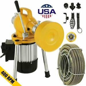 3 4 4 Sectionals Pipe Drain Auger Cleaner Machine Snake Sewer Clog 6 Cutters