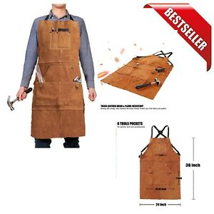 Leather Work Apron Heat Flame Resistant Durable Welding Apron 6 Tool Pockets New