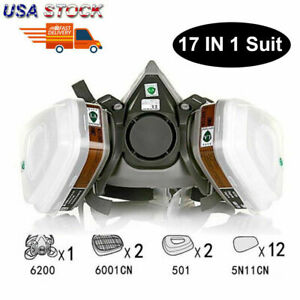 Us 17 In 1 Half Face Gas Mask Respirator Painting Spraying For 6200 Facepiece