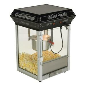 Funtime Popcorn Machine 4 Oz Countertop 2 switch Slide out Crumb Tray Black