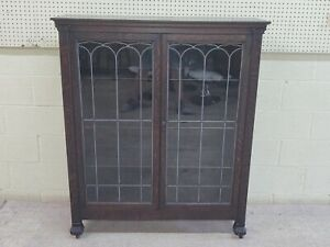 Antique Oak Bookcase Locking Leaded Glass Doors Claw Footed Pickup Only