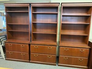2dr File Cabinet W Hutch By Steelcase Office Furniture In Cherry Finish Wood