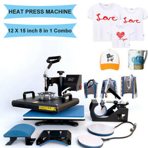 8 In1 Combo Heat Press Machine Digital Transfer Printing T shirt Mug Hat 12 x15