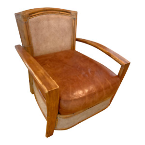 Vintage Bamboo Rattan Leather Lounge Arm Chair