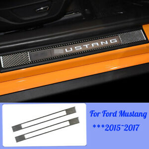 2pcs Car Door Sill Scuff Guards Pedal Sticker Cover For Ford Mustang 2015 2017