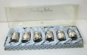 Vintage Vincent Lollo Sterling Silver Salt And Pepper Shakers Set Of 6 In Box