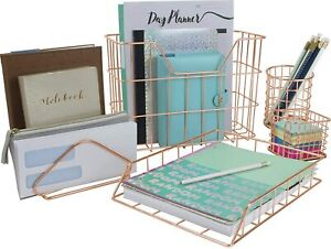 Rose Gold Desk Organizer Set 5 piece Set Aesthetic Office Accessories