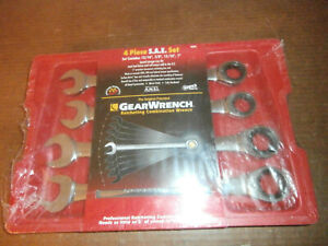 New Gearwrench 4 Piece Sae Large Size Ratcheting Combination Wrench Set 9309d