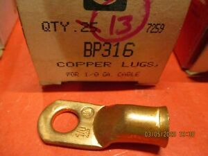 Battery Cable Solid Cooper Lugs 1 0 Gauge 3 8 Stud Lot Of 13