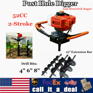 52cc Gas Post Earth Post Hole Digger Borer Fence Drill With 4 6 8 Auger Bits