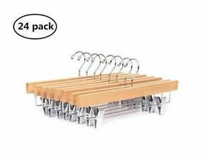 Amber Home 24 Pack Wooden Pants Hangers 14inch Premium Solid Wood 24 Natural