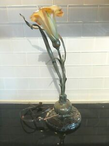 Bronze Art Nouveau Style Lily Lamp On Marble Base