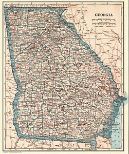 1921 Antique Map Of Georgia Vintage Georgia State Map Gallery Wall Art 8012