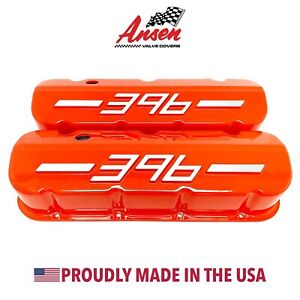 Big Block Chevy 396 Tall Valve Covers Orange With Raised Logo Ansen Usa