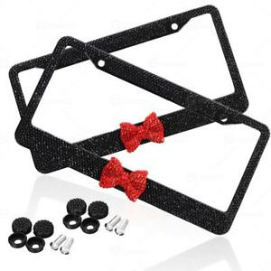 2x Black 7 Rows Bling Diamond Crystal License Plate Frame Red Bow Tie Us