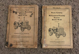International Mccormick Deering W 30 Tractor Instruction Parts Catalog 1940 s