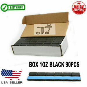 1 Box 1 Oz Black Wheel Weights Stick on Adhesive Tape Lead free 90 Pieces