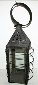 Antique 1800 S Punched Tin Candle Lantern Bird Cage E F Parker Style Glass Sides