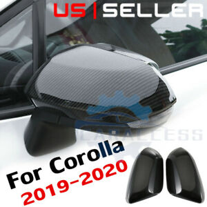 For 2019 2020 Toyota Corolla Carbon Fiber Style Side Rearview Mirror Cover Trim