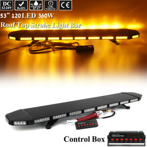 53 Amber Led Strobe Light Bar Emergency Warning Tow Truck Roll Back Wrecker Top
