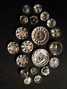Antique Cut Glass Clear Sewing Buttons