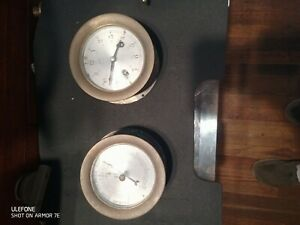 Schatz Mariner Vintage German 8 Day Marine Ships Bell Brass Clock And Barometer