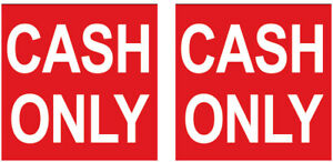 2 Pack 6 Inch Cash Only Sign Sticker Business Store Window Decal