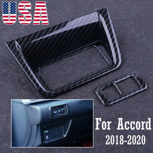 Car Console Function Button Trim Carbon Fiber Style For Honda Accord 2018 2020