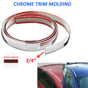 Chrome Trim Molding 3 4 Wide 16feet Car Roof Door Side Decorative Strip Silver