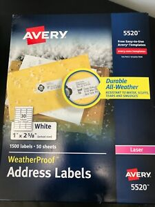 Avery 5520 Weatherproof Address Labels For Laser White 1500 box Free Shipping