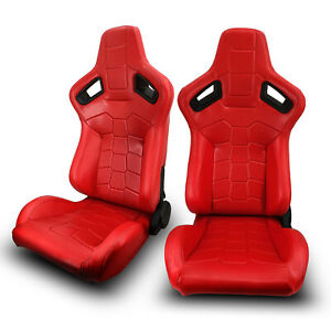 2 X Universal Jdm Red Pvc Leather Left Right Racing Seats Sliders Pair