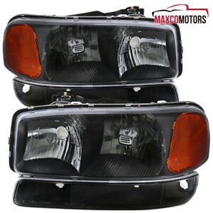 Black For 1999 2006 Gmc Sierra 1500 Yukon Xl 2500 Headlights W Bumper Lamps