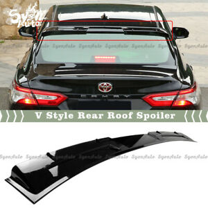 Fits 2018 2020 Toyota Camry Glossy Black V Style Rear Roof Spoiler Window Visor