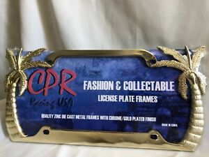 Gold Palm Trees License Plate Frame