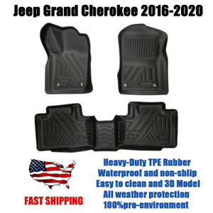 For Jeep Grand Cherokee 2016 2020 All Weather Tpe Car Floor Mat 3d Molded Black