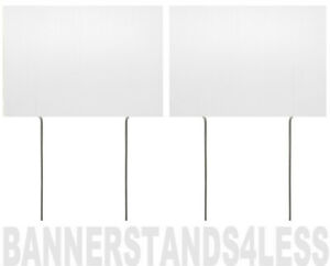 8x12 Inch Blank White Yard Sign With Stake 2 Pack
