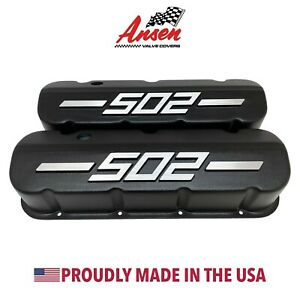 Big Block Chevy 502 Tall Valve Covers Black With Raised Logo Ansen Usa