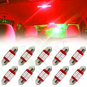 10x 31mm Red Festoon Interior Lights Bulb 4014 10smd Car Led Dome License Lamps