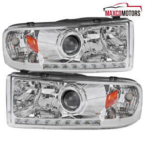 For 1994 2001 Dodge Ram 1500 2500 3500 Projector Headlights Lamps W Smd Led Drl